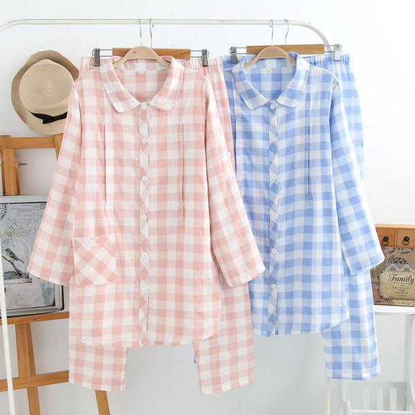 Plus Size Cotton Gauze Pajama Sets Long Sleeve Thin Lactation Pregnant Women Pijama Clothes for Pregnant Women Home Clothing
