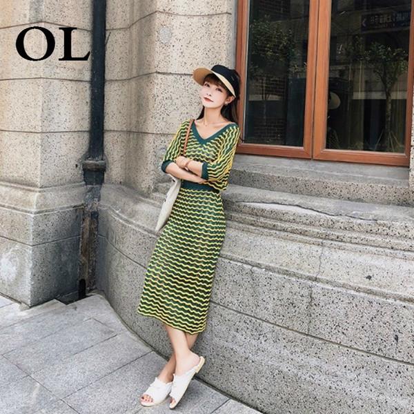 [OL] Topicals For Women 2018 Autumn New Korean Fresh Suit Striped V-Neck T-shirt+high Elastic Waist Skirt Knitted Two Set T540