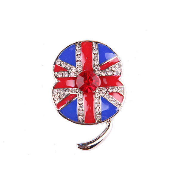 UK Style Poppy Flower Crystal Brooches Pin For Women Gift Sweater Buckle Brooch Cute Small Size Lapel Pin Enamel Rhinestone Breastpin Broach