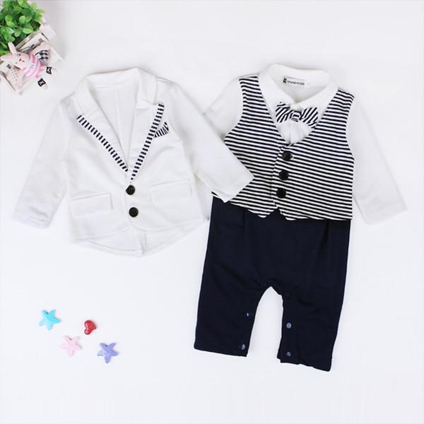 Baby Boys carino abiti Gentlmen 2pc set abbigliamento esterno bianco + pagliaccetto a righe manica lunga Toddlers bel onesie imposta abiti per 1-2T
