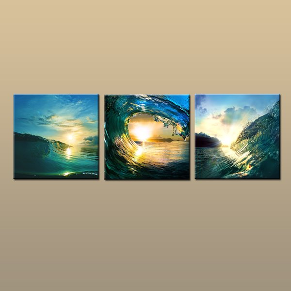 Framed/Unframed Hot Modern Contemporary Canvas Wall Art Print Sunset Wave oil painting Seascape Picture 3 piece Living Room Home Decor ab401