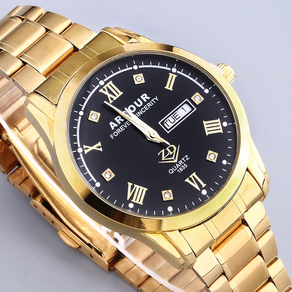 men luxury brand wrist watch stainless steel business gold silver man quartz calendar wristwatch big dial relogio masculino, Slivery;brown