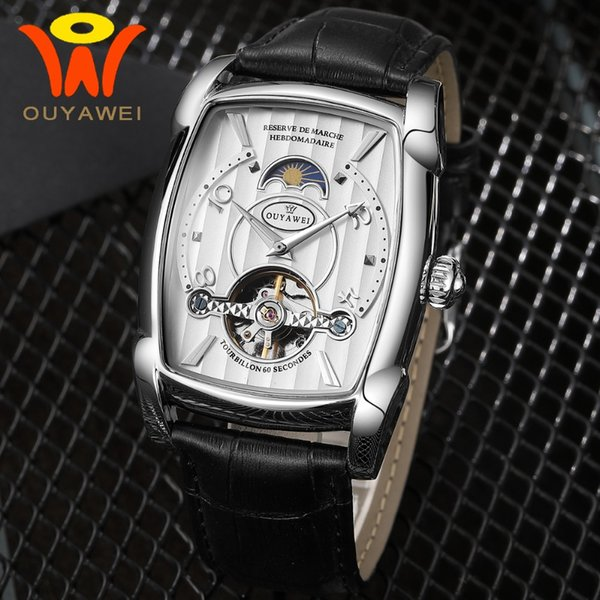 OUYAWEI 2018 New Automatic Watch Men Mechanical Moon Phase Watches Silver Rectangle Case Black Leather WristWatches
