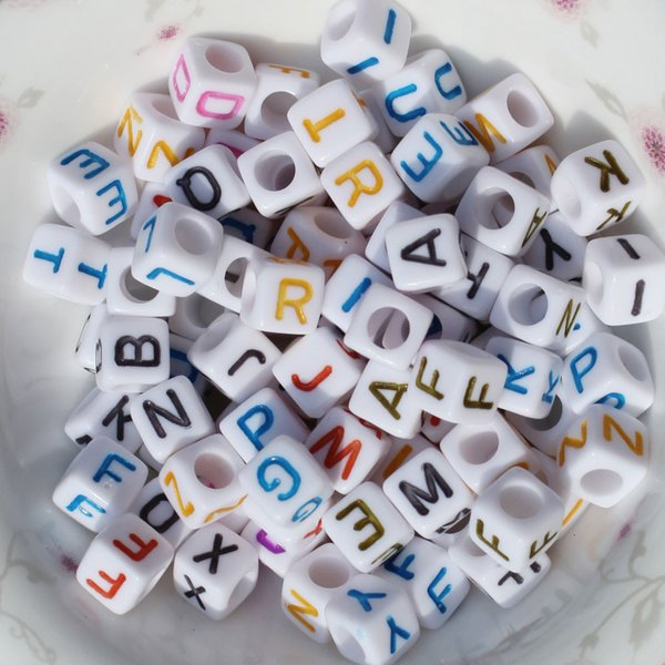 250 Pieces Mixed Color Acrylic Letter/ Alphabet Cube Beads 6 mm DIY Bracelet Beads Making Crafts