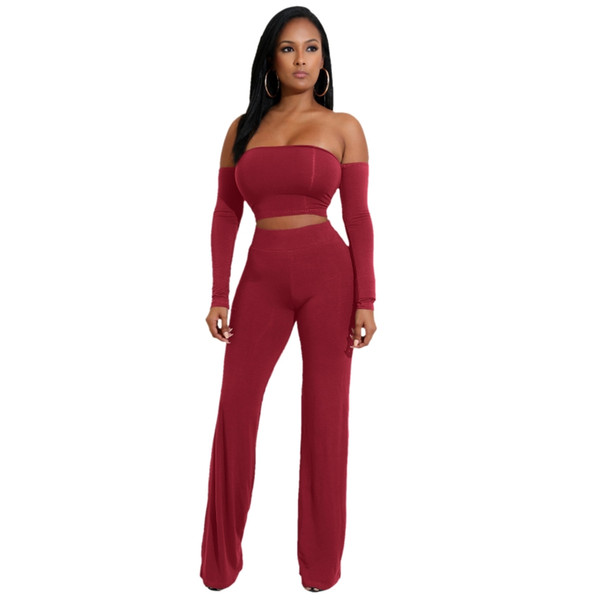 High Quality Women two piece long sleeve Strapless wholesale 2018 new arrival Sexy Celebrity Party Bodycon Bandage Jumpsuits