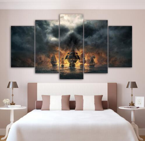 Canvas Wall Art Pictures Home Decor Living Room Frame 5 Pieces Skull Cloud Mist Sailboat Painting Modular HD Printed Game Poster