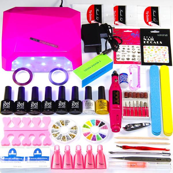 2018 UV lámpara de uñas LED Set de manicura 6 colores UV Gel Polish Polish Kits de manicura Set de pedicura con extensión Art Art Kits