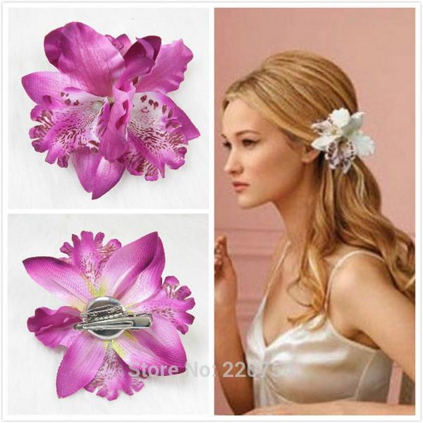 Women clips hair ornaments Bohemia Bridal Flower Orchid Leopard Wedding Girl hair hairpin Decoration Accessories