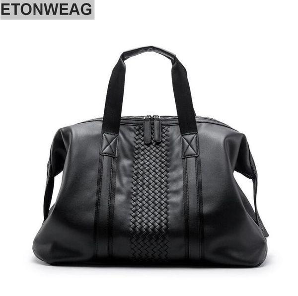 Factory wholesale brand men bag new hand woven men's handbag fashionable large capacity leather traveling bag tidal leather casual handbag