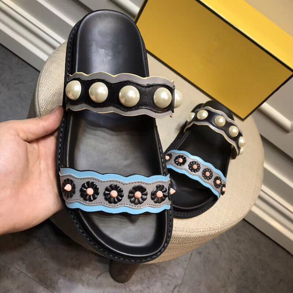 HOT 2018 SUMMER womens real leather Luxury Colourful punk spike studs Gladiator open toe flat slides Sandals With box