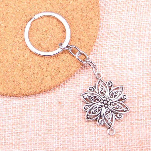 Fashion 28mm Key Ring Metal Key Chain Keychain Jewelry Antique Silver Plated flower connector 39*28mm Pendant