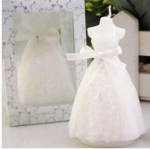 Fashion White Elegant Wedding Bridal Bride Candles Gown Dress Design Art Candle Wedding Party Supplies Home Decors