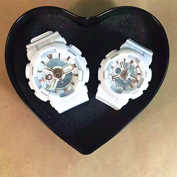 couple sport watch women's wristwatches men's sport watches led waterproof all function work shck resisitant wholesale with box instructions