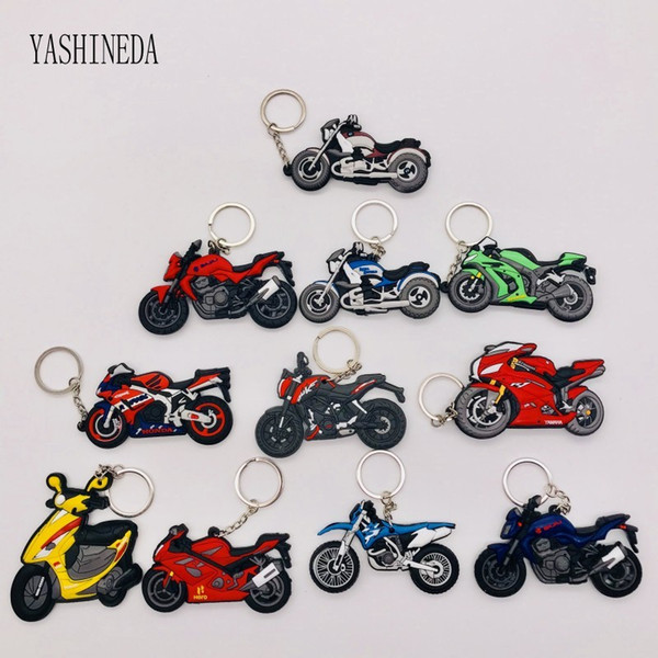 20PCS Motorcycle Model Key Chain Key Ring Rubber PVC 3D double side Keychain Motorcycle Yamaha  Suzuki Motocross Holder