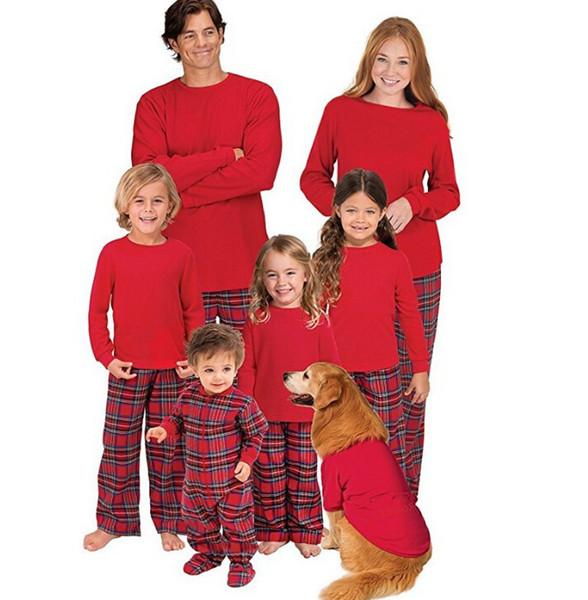 ae69c1ad53 2018 Xmas Family Matching Christmas Pajamas Set Mom Dad Baby Kids Plaid Sleepwear  Nightwear Family Home
