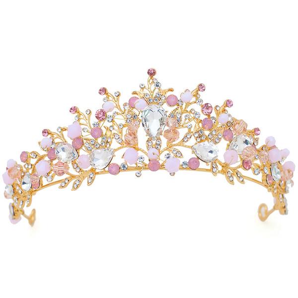 Corona rosa con orecchini Tiara nuziale Accessori per capelli sposa vintage Gioielli per capelli Lega diadema Bellezza Royal Crowns Fasce