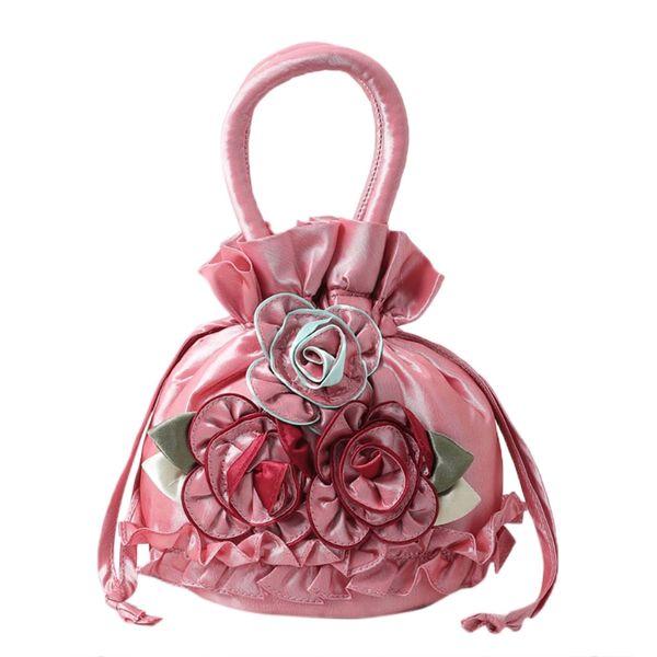 New Women Embroidered Flower Silk Satin Purse Coin Wallet Gift Small Handbag Bag Drawstring Open Shoulder Bag