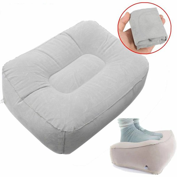 PVC Gray Train Flight Travel Inflatable Foot Rest Pillow Portable Pad Mat Footrest Pillow Home Outdoor Foot Relief Cushion