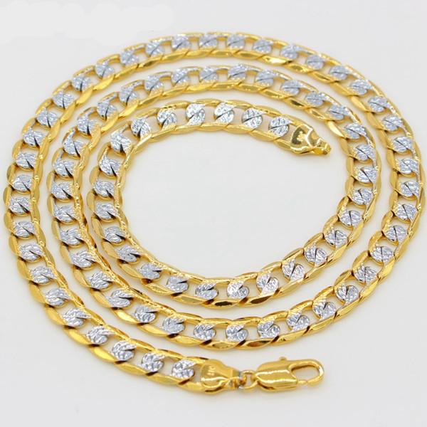 7mm wide Two Tone Solid Necklace 18K Gold Filled Choker Chain Necklace Womens Mens Collier Fashion Curb Chain Link 560mm Long