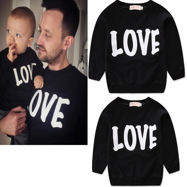 Family matching clothing Mother and daughter T-shirts letter print Tops 2018 new Father and son long sleeve Tees 3 colors C3523