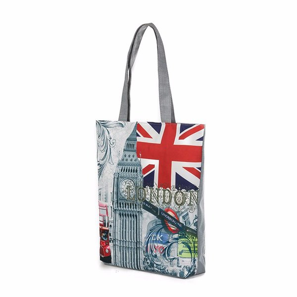 Borse per la spesa da donna Simple Large Canvas Canvas Tote casual Ampia Fashion London Big Ben Printing Design bolsa feminina