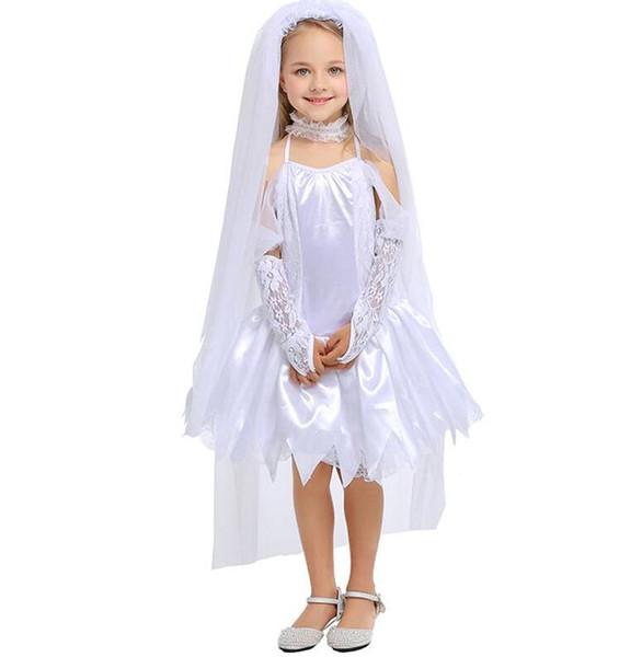 Fiesta de halloween disfraz gótico vampiro fantasma trajes de novia para niño vestido blanco Zombie Cosplay niño vestido divertido