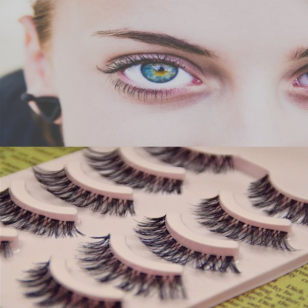 Eye Makeup False Eyelashes 5 Pairs Lot Black Natural Cross Fake False Eyelash Soft Long Makeup Eye Lash Extension Beauty