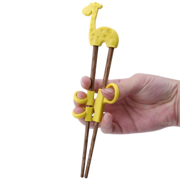 OLOEY Cute Children Chopsticks For Kids Baby Wooden Cartoon Learning Reusable Straw Training Chopsticks Home Baby Products 1pair