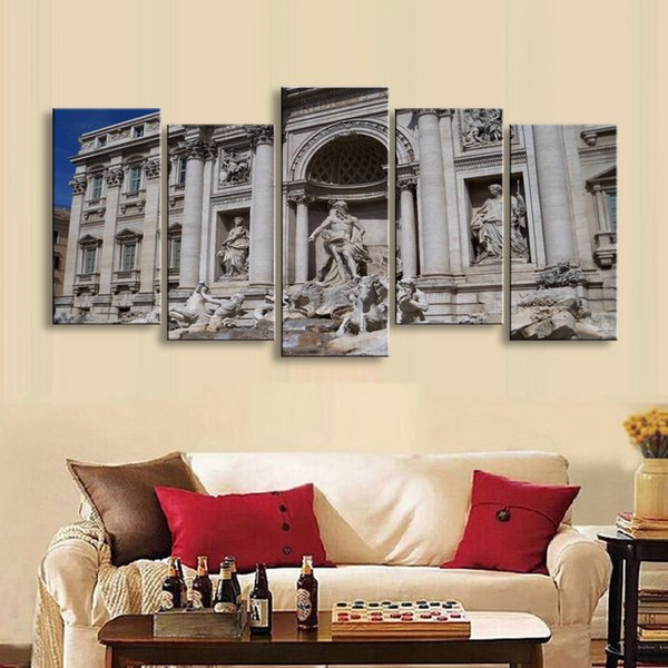 5 pieces high-definition print European landscape canvas painting poster and wall art living room picture PL5-234