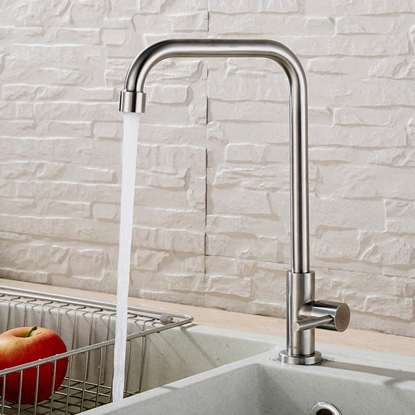 304 stainless steel kitchen faucet single cold seven-word sink faucet