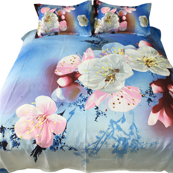 Home Textile Beautiful 3D Floral 4Pcs Bedding Sets New Soft Polyester Fabric Duvet Cover Sheet Pillow Cases Bedclothes
