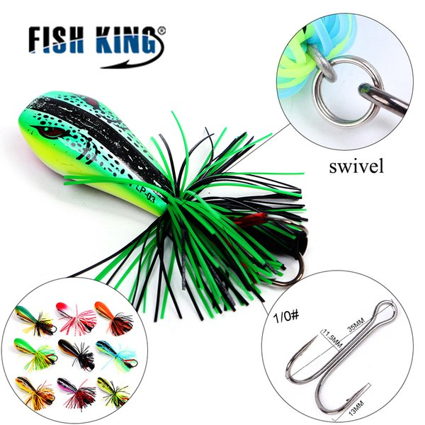 FISH KING 1Pcs Frog Lure 90mm/10g Hard Bass Bait Snakehead Lure Topwater Simulation Popper Frog Fishing Lures Fishing Tackle Y18100806