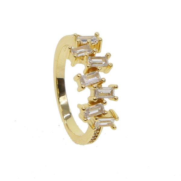 2018 Geometric Crystal Rings Gold Color CZ Cubic Zircon Stone Silver Rings fo for Women Fashion Jewelry Valentines Day Gift