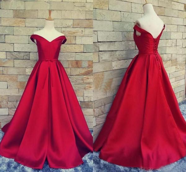 Compre Vestidos De Fiesta De Color Rojo Oscuro Vestido De Fiesta Barato Satén Cuello En V Con Cordones Sin Espalda Cinturón 2018 Vestidos De Fiesta