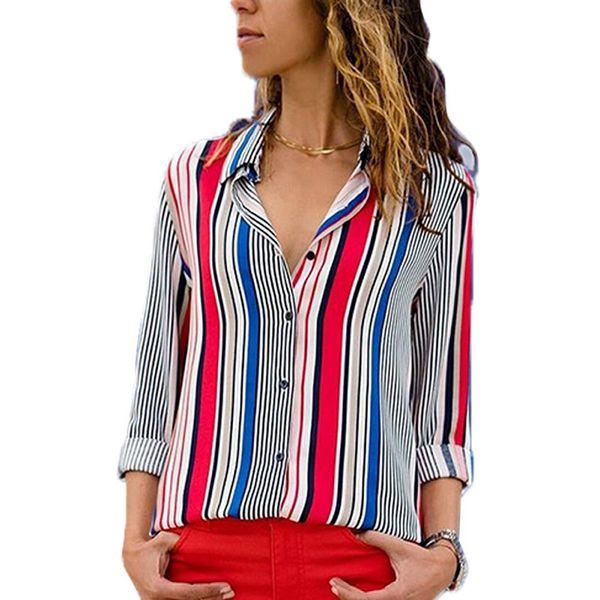 Designer Striped Shirts Plus Size Blouse Women Clothes 2018 Autumn OL Work Long Sleeve Button Down New Fashion Tops