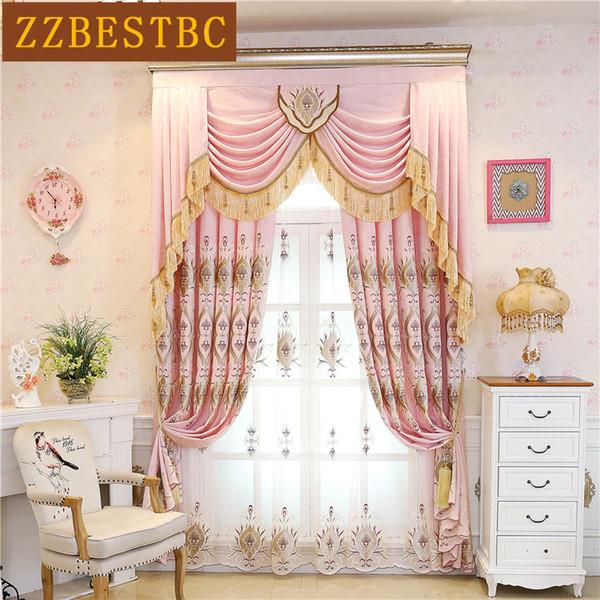 Rideaux de broderie chenille rose de haute qualité blackout pour fenêtres de chambre à coucher Rideau de luxe minimaliste moderne pour salon