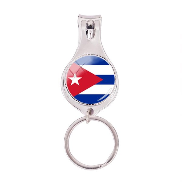 2018 Fashion Cuba Flag Multifunctional Keychain Hand Craft Photo Nail Clipper Keyring Glass Dome Jewelry Nail Clippers