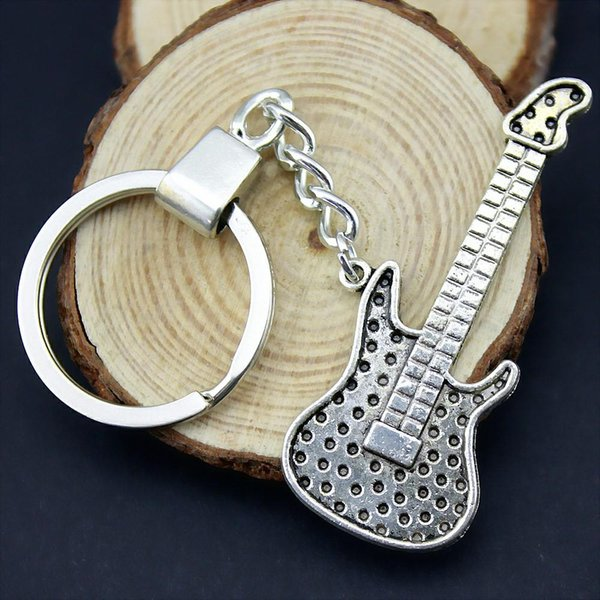 6 Pieces Key Chain Women Key Rings For Car Keychains With Charms Electric Guitar 58x23mm
