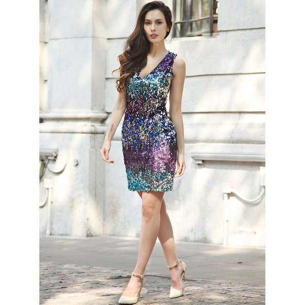 2017New fashion women's skirt for women clothes in spring and summerSexy deep V dress metal Sequin dress
