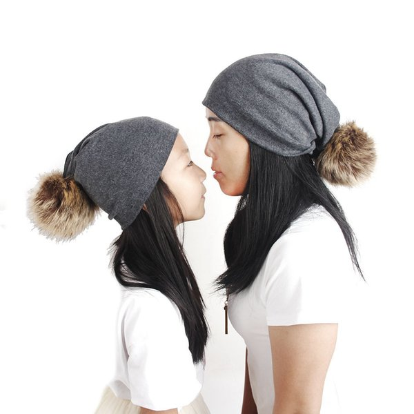 2 Pieces/lot New Exclusive Hat For Mom And Child fashion knitted wool ball cap mother baby monochrome parent-child hat