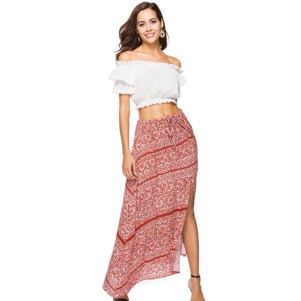 Summer High Waist Ruffle Boho Print Long Skirt Women Drawstring Tie Up Maxi Skirt Floral Print Beach Chic Female 2018