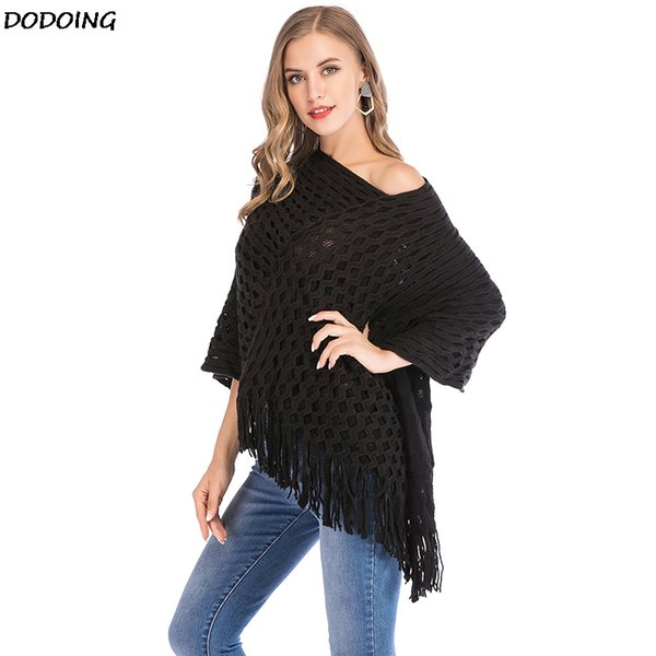 DODOING Womens Double Layer Tassel Poncho Cape Shawls Batwing Knit Sweater Cloak Ladies Fashion Casual Hollow knitted Streetwear