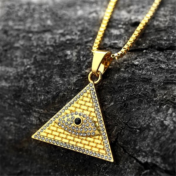 Позолоченные Древняя Египетская Пирамида Глаз Гора Ожерелье Хип-Хоп Мужчины Женщины Ожерелье Цепи Рождественский Подарок На День Рождения