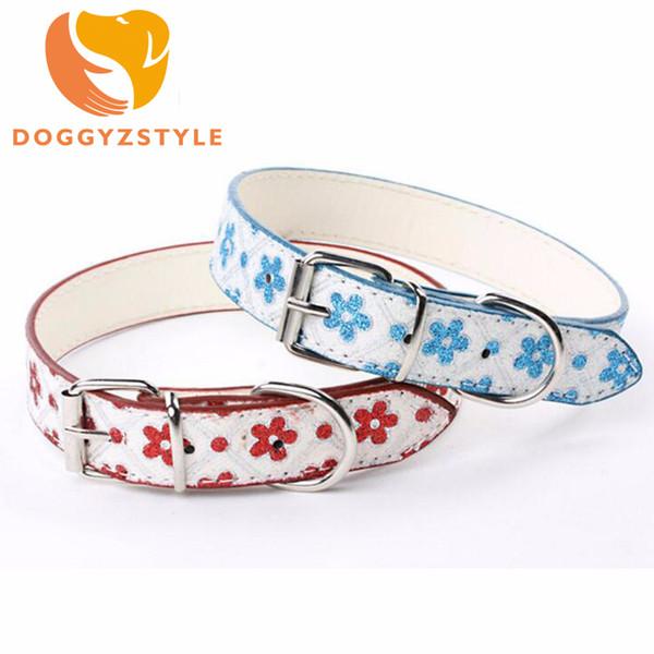 7 Farbe Hundehalsband Blume PU Leder Katze Halskette Nieten Welpen Umhängeband Fluoreszenz Blumen Haustier Zubehör DOGGYZSTYLE