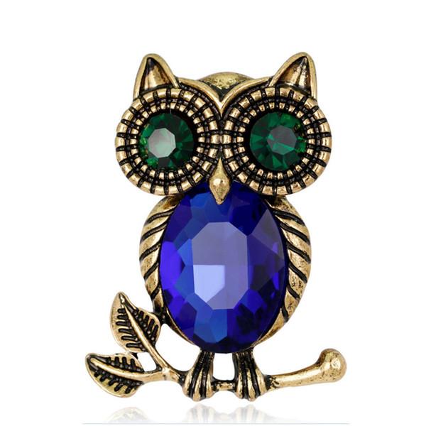 Women's Vintage Rhinestone Owl Brooch Bronze Glass Crystal Corsage Coat Suit Scarf Pin European America Fashion Jewelry