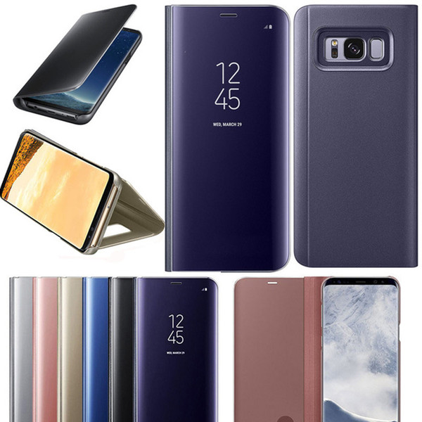 Mirror Wallet Official Case For Iphone X 10 8 7 Plus 6 6S Galaxy S9 Note 8/S8/S7/Edge/S6 Flip Leather Plating Smart Window Metallic Chromed