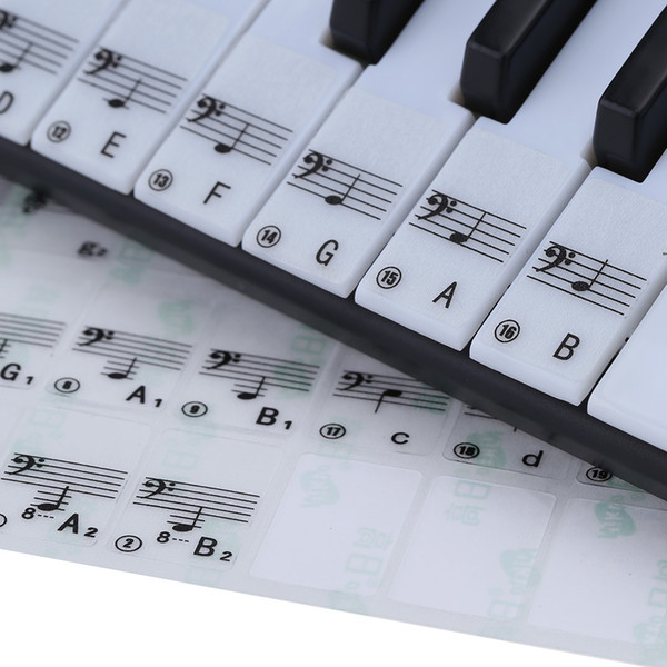 best selling Transparent 49 61 Key Electronic Keyboard 88 Key Piano Stave Note Sticker for White Keys