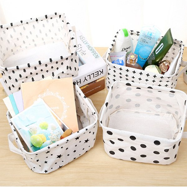 Waterproof Cotton Linen Creative Toy Clothes Storage Basket Bra Necktie Socks Organizer Cosmetic Phone Charger Storage Bag Bins