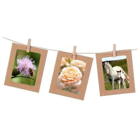 10pcs/Set 3/4/5/6/7 inch Paper Photo Frame For Pictures Vintage Frame with Clips Rope Combine DIY Wall Photo Hanging Home Decor