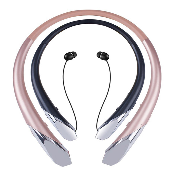 HX-911 Bluetooth Stereo Headset Noise Cancelling Neckband Sports Headphones IPX3 Sweatproof Retractable Earbuds Wireless V4.1 Mic Earphones